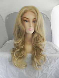 ON SALE / Lace Front Wig Honey Blonde Long Wavy Natural by ExandOh