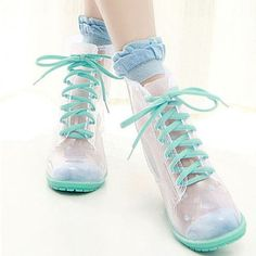 """Sweet candy color transparent heels rain boots SE9789      Coupon code """"cutekawaii"""" for 10% off"""