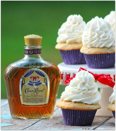 These Crown Royal Butter Pecan Cupcakes are a perfect dessert for an adult party! The flavor of the Crown Royal is subtle, with a hint of vanilla and fruit. Royal Cupcakes, Crown Cupcakes, Summer Cupcakes, Making Cupcakes, Fancy Cupcakes, Alcohol Cake, Best Alcohol, Alcohol Shots, Mini Cakes