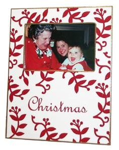 Red Berry Christmas Decoupage Picture Frame-Can Be Personalized $58.00 (USD)