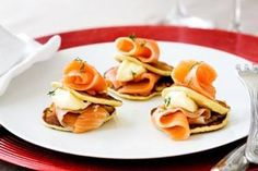 Salmon on potato pikelets, creme fraiche and dill