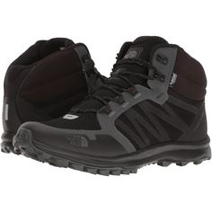 The North Face Litewave Fastpack Mid WP (TNF Black/Dark Shadow Grey)... ($115) ❤ liked on Polyvore featuring men's fashion, men's shoes and men's boots
