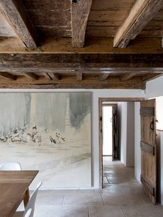 Inspiring Private House Idea in Secluded Land of Forest: Traditional Dining Room Design Using Wooden Dining Table And White Chars Travertine Tile Floor And Abstract Painting Private House In Cotswolds ~ warnhouse.com Architecture Inspiration