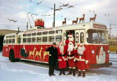 """Dayton, Ohio """"Christmas Trolley""""  in the 1960's and 1970's. It had a tree in the back and a Santa so kids could sit on Santa's lap on their way downtown with their parents."""