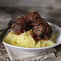Spaghetti Squash with Fennel & Parmesan Meatballs