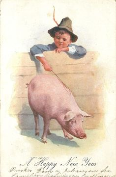 New Year Boy Tickles Happy Pig with Back Scratching Stick 1906 Bkwi Postcard | eBay