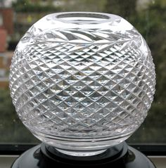 Waterford Irish Crystal Alana Glass Rose Bowl Ball Vase Impressive Cut Lead #Waterford