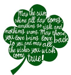 St. Patrick's Day blessing clover. Irish blessing. Irish saying for St. Patty's Day