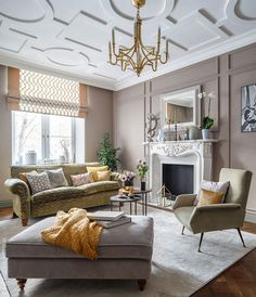 Feminine apartment in Moscow by Nadya Zotova (see more) #beige #interior #design #living #Room #idea #sofa #velvet #fireplace #arm #chair #ceiling #inspiration