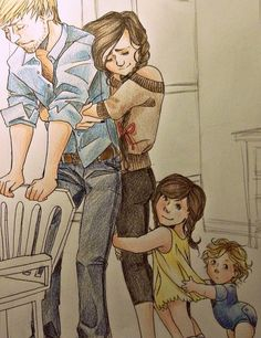 Peeta, Katniss, & the kids...  It amazes me every time I see fan art... the love and dedication and talent of these fans!