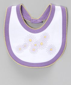 Take a look at this White & Lavender Daisy Bib by HuggyBunny on #zulily today!