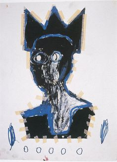 pleviose:  Jean-Michel Basquiat (1960-1988)Untitled (Bust)acrylic, paper, and tape collage on paper, 76x57cm