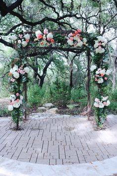 Colorful arch comprised o peonies, hydrangeas, and roses. | Whim Florals
