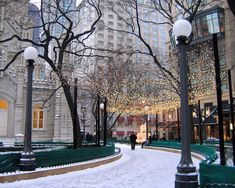 Christmas In Chicago Poster by Laura Kinker. All posters are professionally printed, packaged, and shipped within 3 - 4 business days. Choose from multiple sizes and hundreds of frame and mat options. Winter In Chicago, Chicago Christmas, Chicago Water Tower, Chicago Vacation, Chicago Travel, Chicago Poster, Snow Light, Winter Light, Christmas Wonderland