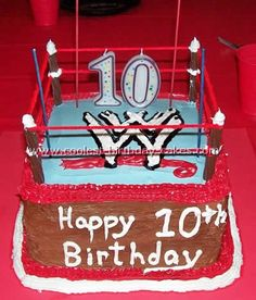 Cool WWE Wrestling Cake made with Buttercream Icing Wrestling cake