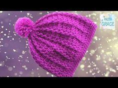 cappellino per neonata all'uncinetto tutorial (modello rosa e bianco) - YouTube
