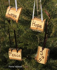 Cool idea! Rustic Country Christmas Ornament Set of 4 Hope, Love, Peace, Joy Primitive Holiday Home Decor Tree. $32.00, via Etsy.