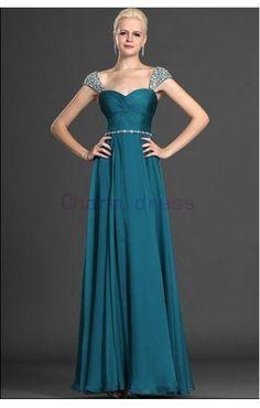 Diamond shoulder cap prom dress    floor length long chiffon prom dresses    cheap formal evening gowns on Etsy, $149.00