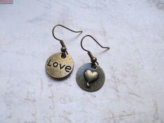Ohrringe Love Herz Bronze Vintage