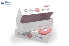 Enhance the visual appearance of the donuts and make them look more mouth-watery and tempting in custom donut boxes. For more info: Call: 888-851-0765 Email: support@thecustompackaging.com Custom Packaging, Box Packaging, Custom Boxes, Donuts, Day, Prints, How To Make, Beignets, Printed