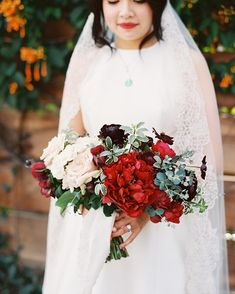 Browse our favorite bridal bouquets for a winter wedding. Winter Bridal Bouquets, Winter Bouquet, Winter Wedding Flowers, Bride Bouquets, Flower Bouquets, Snowy Wedding, Red Wedding, Christmas Wedding, Wedding Colors