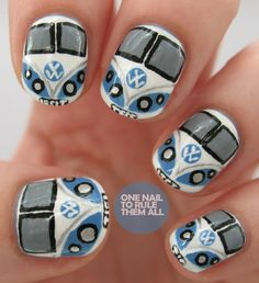 VW campervan nail art. It appears me and 'thenicolesnailsyoutube' had the same idea today, how strange! You can read more about these nails on my blog