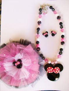minnie mouse beaded necklace set by crystalnruby on Etsy, $3.99
