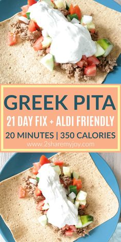 Do you think healthy eating is complicated, costs a lot, or takes away too much time? Check out this Healthy Greek Pita Recipe works perfect with the 21 day fix. This clean eating dinner recipe is Aldi friendly, done in 20 minutes and contains only 350 calories.