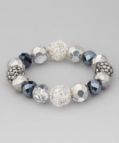 Take a look at this Crystal & Silver Glass Stretch Bracelet by Majestic on #zulily today!