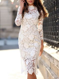Gorgeous White Lace Bodycon Dress – Oh Yours Fashion Lace Sheath Dress, Lace Midi Dress, Bodycon Dress, Lace Dresses, Beige Dresses, Midi Dresses, Sheath Dresses, Floral Dresses, Club Dresses