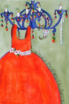 It is Wednesday and I am almost ready to go to Cannon Beach for the 2013 spring unveiling.  I wanted to make a bright splash in Josephine's window so I painted this dress in corals and oranges.  It actually makes me want to dance.  Hope to see some of you there.  Enjoy!  my name is bonnie taylor talbot and ipaintpictures.