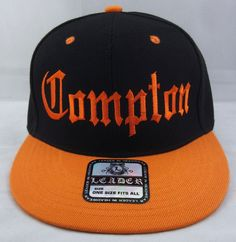 Compton Snapback Hat Los Angeles Cap South Central La Black Orange Raiders