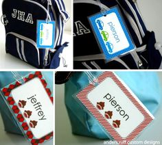 Free custom printables for DIY backpack tags for kids