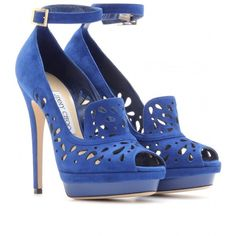 Jimmy Choo Kalan Suede Platform Pumps With Perforated Detail ($1,295) ❤ liked on Polyvore