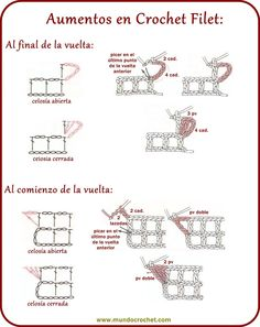 How to knit crochet filet step by step Filet Crochet, Crochet Cord, Crochet Diagram, Crochet Motif, Crochet Doilies, Crochet Lace, Crochet Blocks, Wiggly Crochet, Crochet Butterfly Pattern