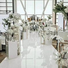 Wedding Isle Decorations, Prom Decor, Engagement Decorations, Wedding Centerpieces, Church Decorations, Table Decorations, Aisle Runner Wedding, Wedding Table, All White Wedding