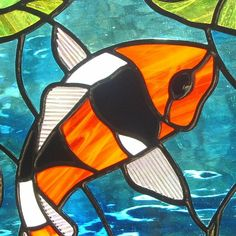 Orange Black and White Koi Fish Stained Glass by LivingGlassArt