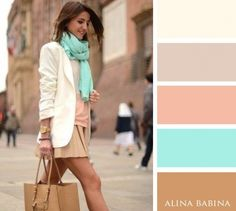 White, Beige, Pink, Mint and Brown combination