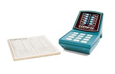 Comp IV, from Milton Bradley, was a microprocessor-driven games. Released in 1977, it's an electronic equivalent of the code-breaking board game, Mastermind. In place of Mastermind's multi-colored pegs and game board, Comp IV substitutes a keyboard and on-screen display.  #miltonbradley #vintagetoys