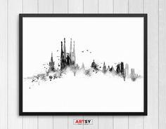 Cartel de grabado, acuarela acuarela Barcelona, arte de la pared, skyline de Barcelona, España arte, horizonte España, arte imprime N.003