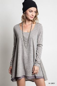 Sweater with Chiffon Hemline from Gypsy Outfitters -  Boho Luxe Boutique