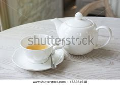 Hot Afternoon Tea Cup on Wood Table Background