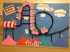 Minion bulletin board Carnival Bulletin Boards, Stem Bulletin Boards, Carnival Classroom, Minion Classroom, Reading Bulletin Boards, Classroom Wall Decor, Classroom Walls, School Library Displays, Classroom Displays