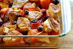 Butternut Squash Apple Cranberry Bake ~ Simple and easy butternut squash, apple, and cranberry bake recipe.  Perfect for a holiday feast. ~ SimplyRecipes.com