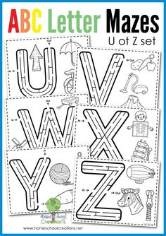 Alphabet Mazes - Letters U to Z (Free Printable) Alphabet letter maze set from U to Z - free printable set from Homeschool Creations Kindergarten Reading, Preschool Kindergarten, Preschool Learning, Preschool Activities, English Activities, Free Preschool, Preschool Letters, Preschool Curriculum, Preschool Printables