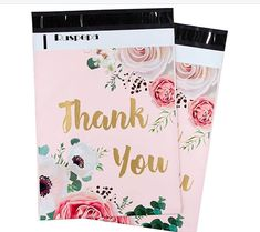 25 10x13 Poly Mailers GoldThank You Pink Floral Flowers Roses by LesTroisJ on Etsy Purchase Card, Thank You Photos, Thanks For The Gift, Shipping Supplies, I Work Hard, Business Card Size, Pink Stripes, All Sale, Floral Flowers