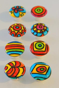 Your place to buy and sell all things handmade - EIGHT brighter than bright kitchen cabinet dresser knobs - Pebble Painting, Pottery Painting, Pebble Art, Stone Painting, Rock Painting Ideas Easy, Rock Painting Designs, Paint Designs, Stone Crafts, Rock Crafts