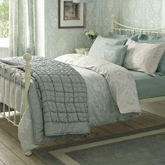 Find sophisticated detail in every Laura Ashley collection - home furnishings, children's room decor, and women, girls & men's fashion. Home Furnishings, Home, Home Bedroom, Duck Egg Blue Bedroom, Bedroom Inspirations, Bed, Blue Bedroom, Laura Ashley Bedroom, Bedroom