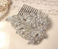 Antique Art Deco Bridal Hair Comb Art Nouveau door AmoreTreasure