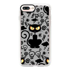 Angry Black Cat Cartoon Comics - iPhone 7 Plus Case And Cover ($40) ❤ liked on Polyvore featuring accessories, tech accessories, iphone case, apple iphone case, iphone cases, iphone cover case, comic book and cartoon iphone case